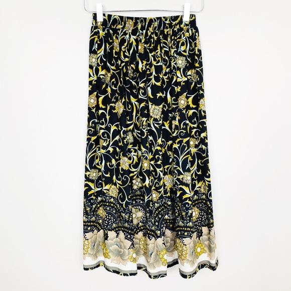 Vintage Dresses & Skirts - VINTAGE Floral Prairie Boho Midi Skirt S Black